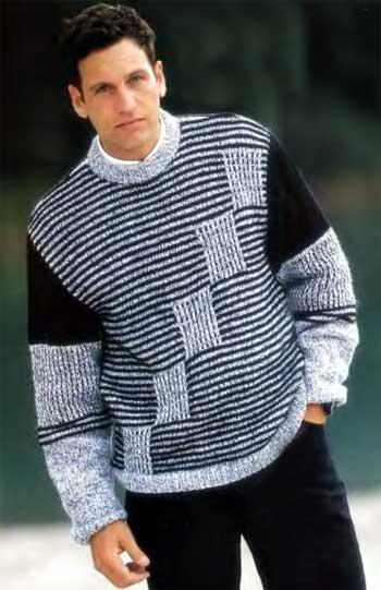 Черно-белый мужской пуловер.