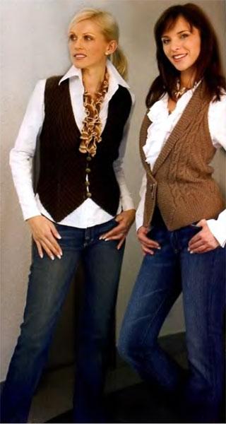 Женские жилеты и безрукавки вязаные крючком и спицами.