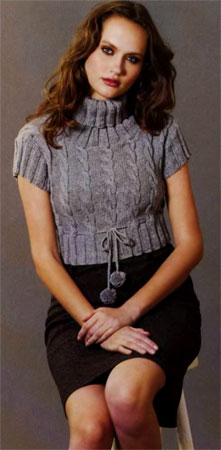 пуловер с короткими рукавами, описание вязания на спицах.  Сандра 1-2008.