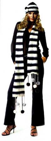Вязание шарфа и шапочки в полоску
