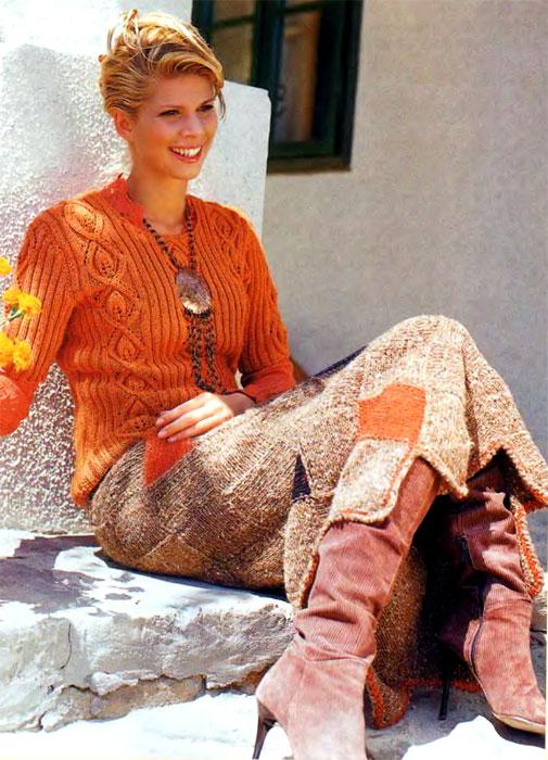 Вязаный женский пуловер спицами цвета верблюжьей шерсти, схема вязания...