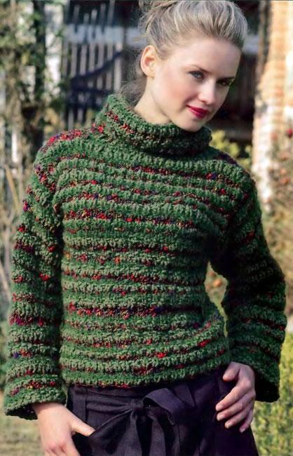"""Зеленый свитер  """" Вязание, вязание спицами, вязание крючком."""