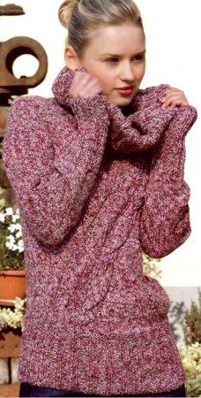 Меланжевый свитер с косами