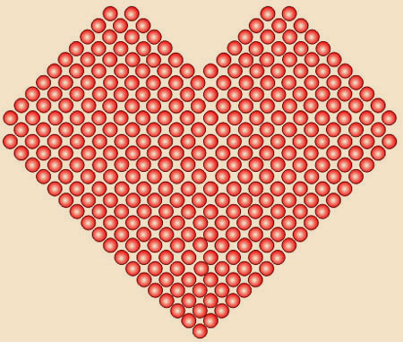 """...представленную выше схему с добавлениями-убавлениями числа бусинок, как показывает  """"Сердечко из бисера """" схема."""
