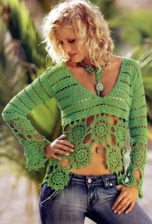 Пуловер с кружевными планками