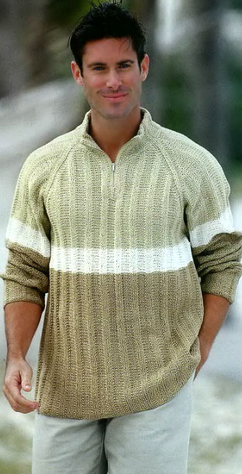 Трехцветный мужской пуловер