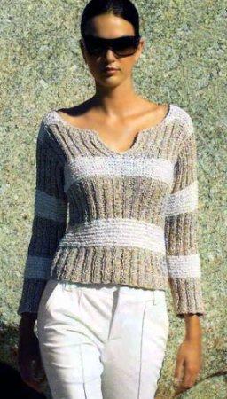 Пуловер с широкими разноцветными полосами