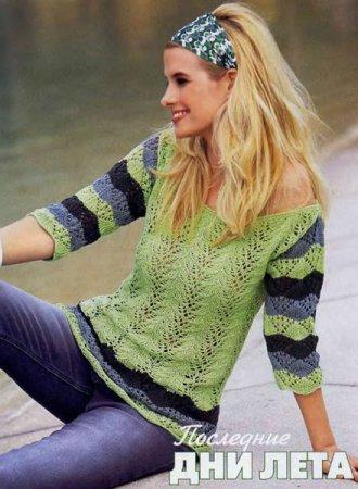 Ажурный пуловер с полосатыми рукавами