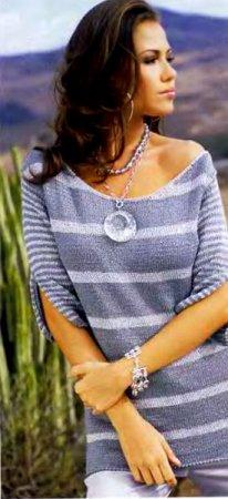 Пуловер с разрезами на рукавах