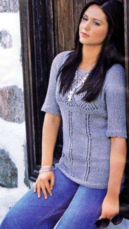 Пуловер с кокеткой и короткими рукавами