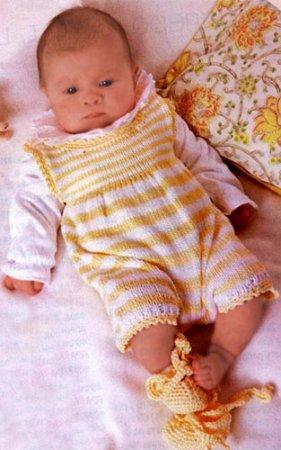 Полосатый КОМПЛЕКТ для малыша:комбинезон,шапочка,пинетки.СПИЦЫ+КРЮЧОК.  Для вязания комплекта малышу Вам потребуется...