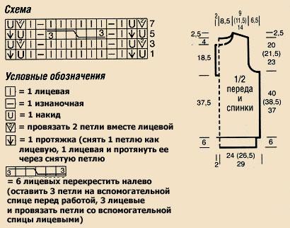 удлиненная безрукавка спицами - схема.