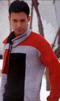 Вязание черно-серо-красного свитера