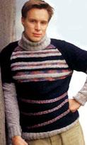 Вязание свитера с декоративными полосками