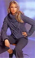 Короткий пуловер с центральной косой