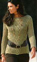 Сетчатый пуловер с ажурными вставками