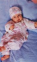 Жакет, пуловер, пинетки и шапочка для новорожденных