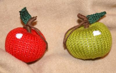 knitting apples.
