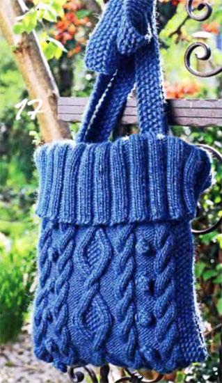 600 г синей пряжи Qual Drops Eskimo (100% шерсти, 50 м/50 г); * круговые спицы 5. Для вязания сумки Вам потребуется.