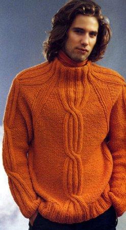 Пуловер реглан с косами и полосатый шарф