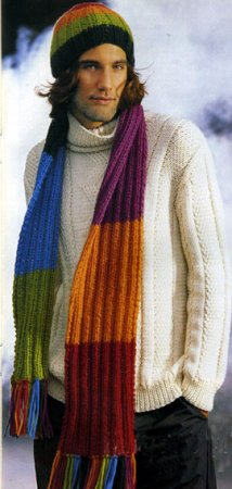Полосатая шапочка и шарф