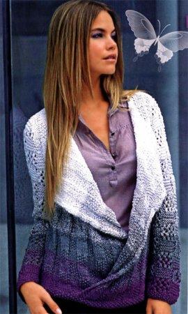 Многоцветный пуловер с разделенным передом