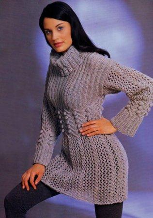 135 м/50 г); прямы. вязаное мини-платье с воротником спицами.