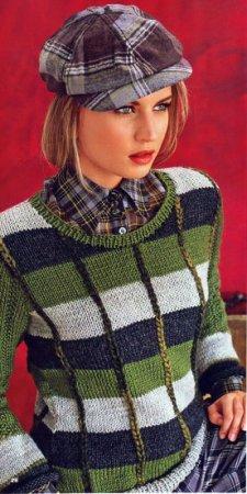 Пуловер с имитацией клеток
