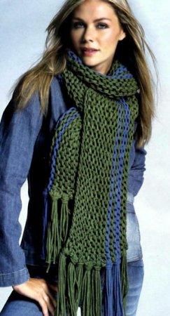 Тканый мужской шарф, вязанный крючком, схема вязания, пример вязания.