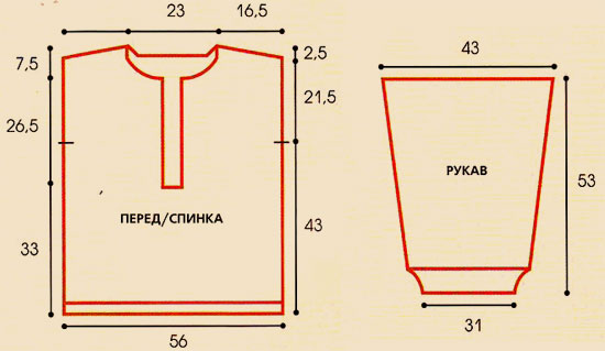 Схема вязания крючком мужского свитера.
