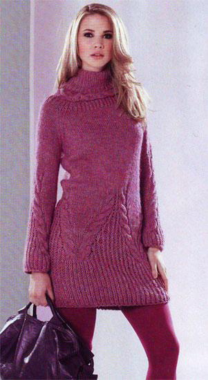 Вязание спицами женского платья.