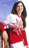 Пуловер с капюшоном и снежинками