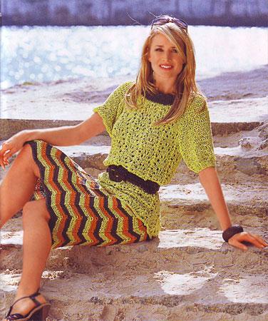 Вязание пуловера и юбки