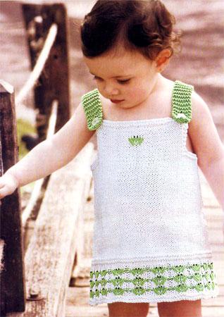 вязаные детские сарафаны спицами со схемами.