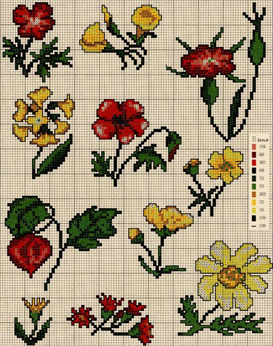 Вышивка цветов. Схемы вышивки