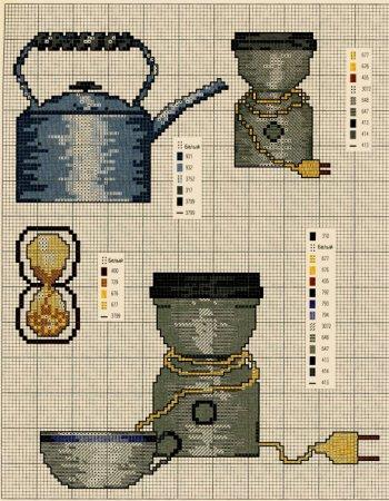 Схемы вышивки крестом кухонных принадлежностей.  Прочитать целикомВ.
