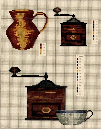 Схемы вышивки крестом кухонных принадлежностей.