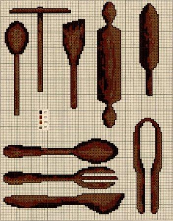 А не украсить ли нам кухню чем-нибудь оргинальным?  Ниже вы найдете схемы для вышивки всевозможных кухонных...