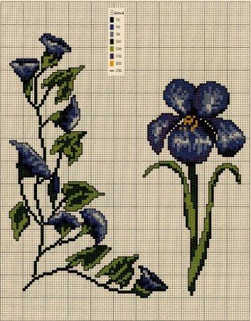 Вышивка цветов. Схемы вышивки крестом