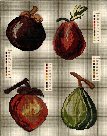 вышивка схема фрукты