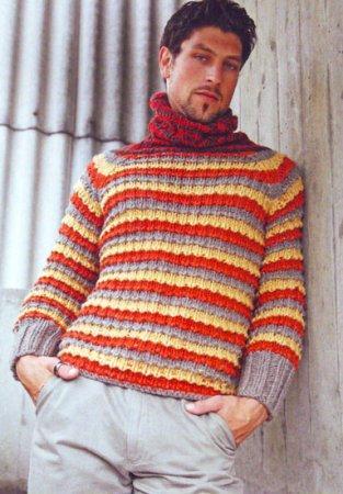 Пуловер в яркую полоску