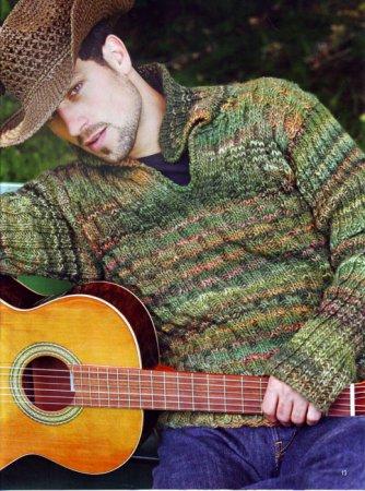 Пуловер с узором из сот