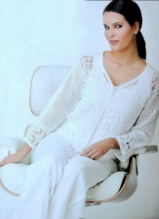 Вязание белого жакета.