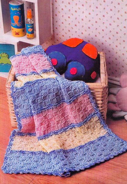 Детский плед - вязание на спицах, схема.  Совсем простое вязание, подойдет и для начинающих.