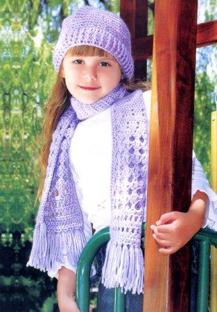 """Вязание крючком шапочки и шарфика """"Цветок сирени"""""""