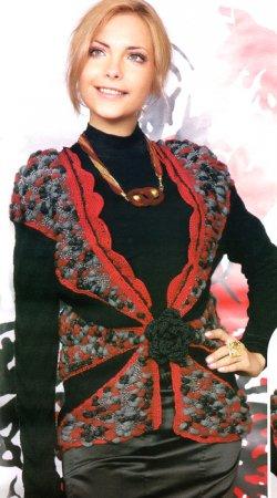 Вязание женского жилета.
