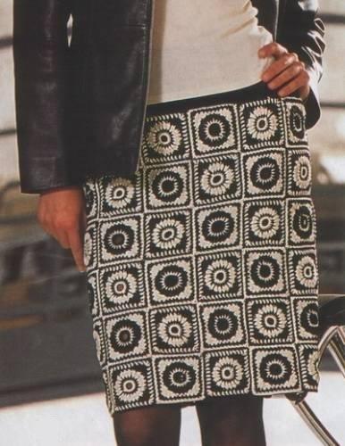Черно-белая юбка крючком