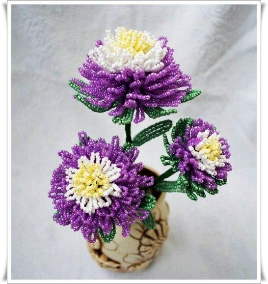 хризантема бисером