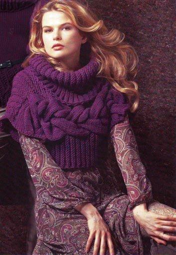 Женский пуловер с горизонтальными косами и широким воротником