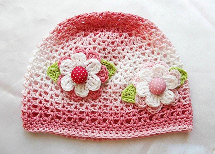детская летняя вязанная шапочка